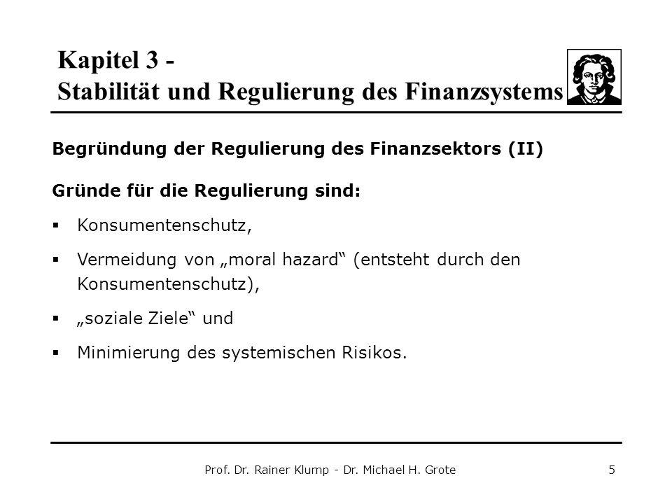 Kapitel 3 - Stabilität und Regulierung des Finanzsystems Prof. Dr. Rainer Klump - Dr. Michael H. Grote5 Begründung der Regulierung des Finanzsektors (