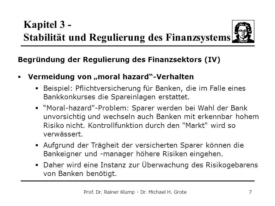 Kapitel 3 - Stabilität und Regulierung des Finanzsystems Prof. Dr. Rainer Klump - Dr. Michael H. Grote7 Begründung der Regulierung des Finanzsektors (
