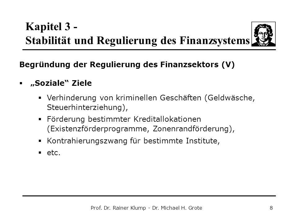 Kapitel 3 - Stabilität und Regulierung des Finanzsystems Prof. Dr. Rainer Klump - Dr. Michael H. Grote8 Begründung der Regulierung des Finanzsektors (