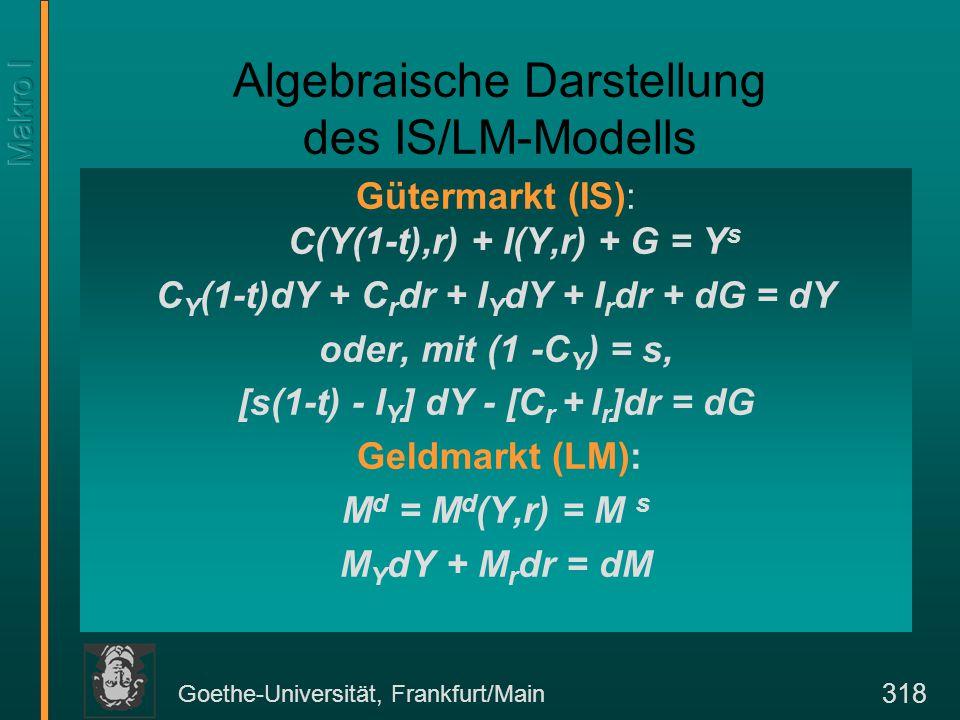 Goethe-Universität, Frankfurt/Main 318 Algebraische Darstellung des IS/LM-Modells Gütermarkt (IS): C(Y(1-t),r) + I(Y,r) + G = Y s C Y (1-t)dY + C r dr