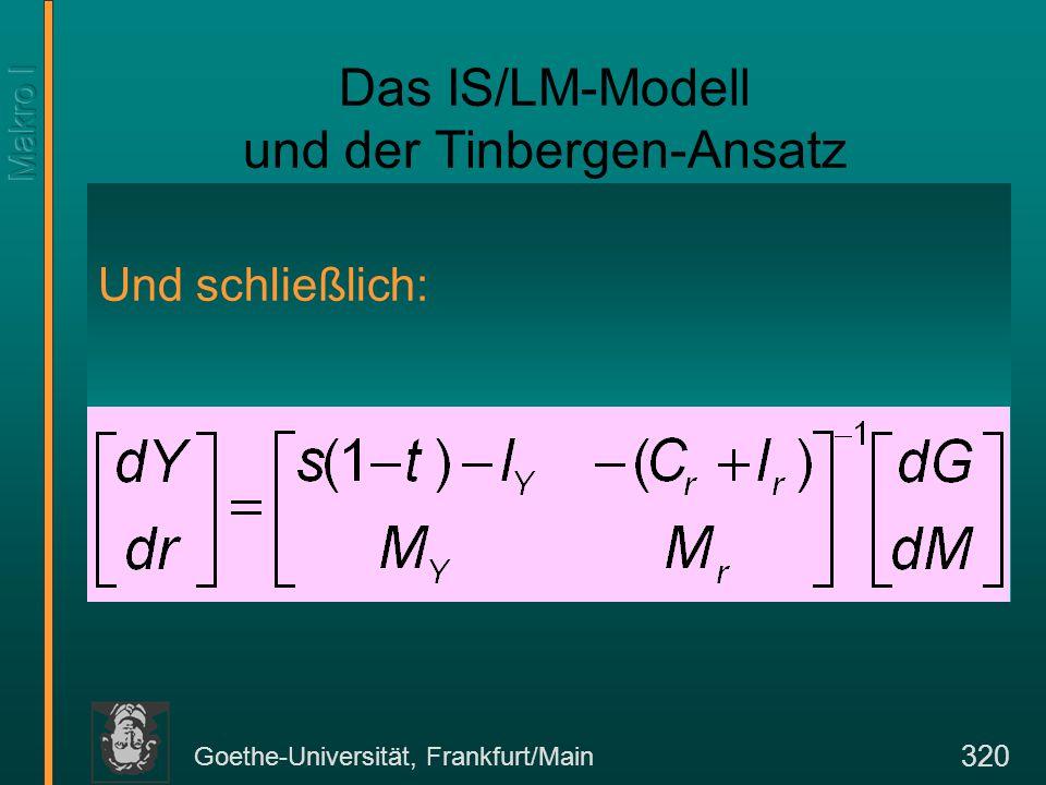 Goethe-Universität, Frankfurt/Main 320 Das IS/LM-Modell und der Tinbergen-Ansatz Und schließlich: