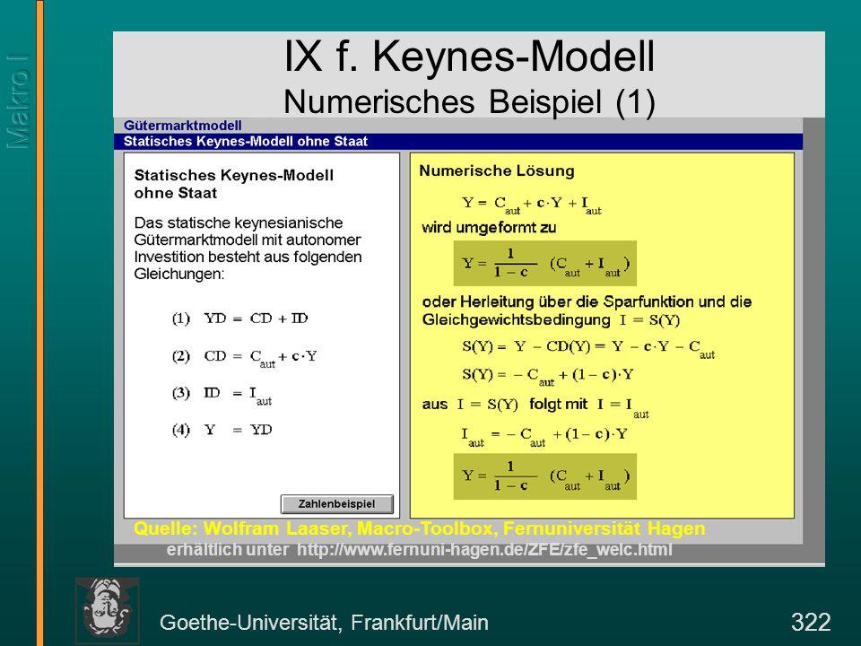 Goethe-Universität, Frankfurt/Main 322 IX f. Keynes-Modell Numerisches Beispiel (1) Quelle: Wolfram Laaser, Macro-Toolbox, Fernuniversität Hagen erhäl