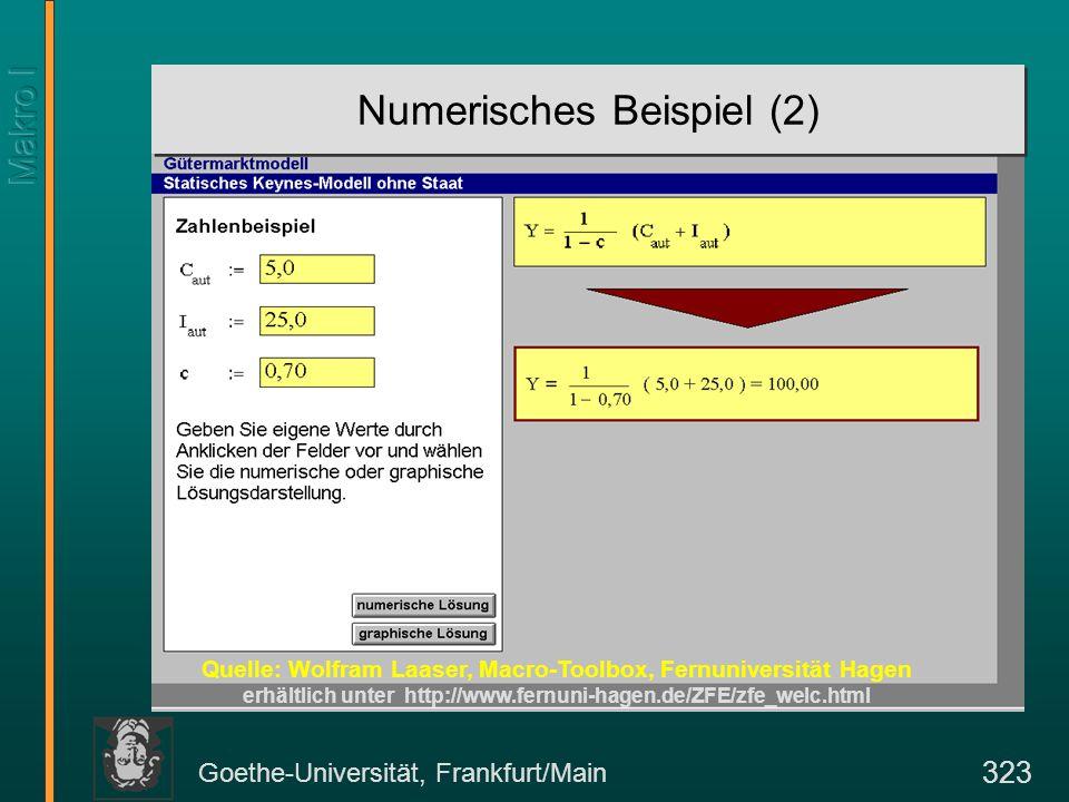 Goethe-Universität, Frankfurt/Main 323 Numerisches Beispiel (2) Quelle: Wolfram Laaser, Macro-Toolbox, Fernuniversität Hagen erhältlich unter http://w