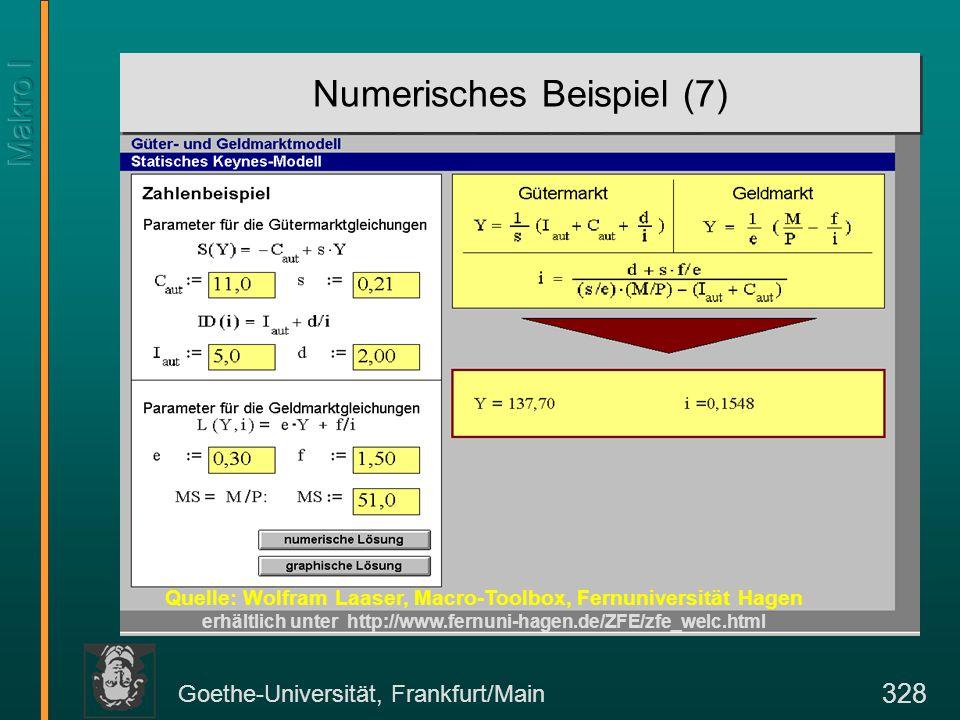 Goethe-Universität, Frankfurt/Main 328 Numerisches Beispiel (7) Quelle: Wolfram Laaser, Macro-Toolbox, Fernuniversität Hagen erhältlich unter http://w