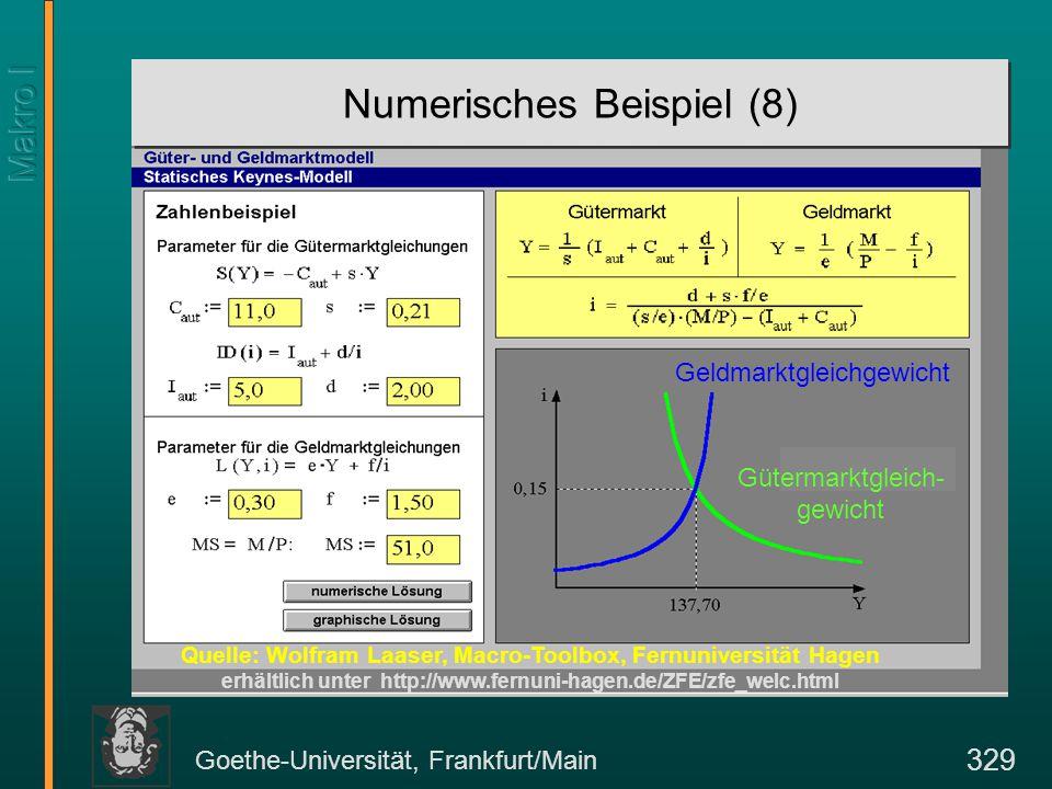 Goethe-Universität, Frankfurt/Main 329 Numerisches Beispiel (8) Quelle: Wolfram Laaser, Macro-Toolbox, Fernuniversität Hagen erhältlich unter http://w