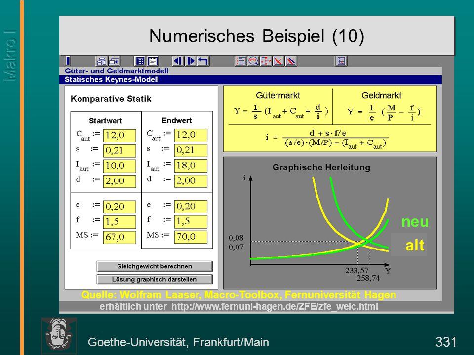 Goethe-Universität, Frankfurt/Main 331 Numerisches Beispiel (10) Quelle: Wolfram Laaser, Macro-Toolbox, Fernuniversität Hagen erhältlich unter http://