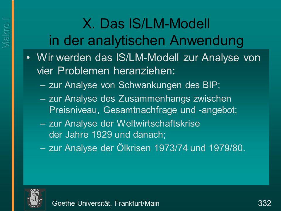 Goethe-Universität, Frankfurt/Main 332 X. Das IS/LM-Modell in der analytischen Anwendung Wir werden das IS/LM-Modell zur Analyse von vier Problemen he