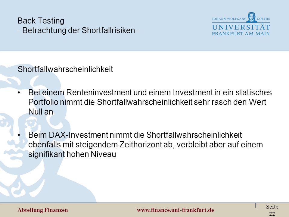 Abteilung Finanzen www.finance.uni-frankfurt.de Seite 22 Back Testing - Betrachtung der Shortfallrisiken - Shortfallwahrscheinlichkeit Bei einem Rente
