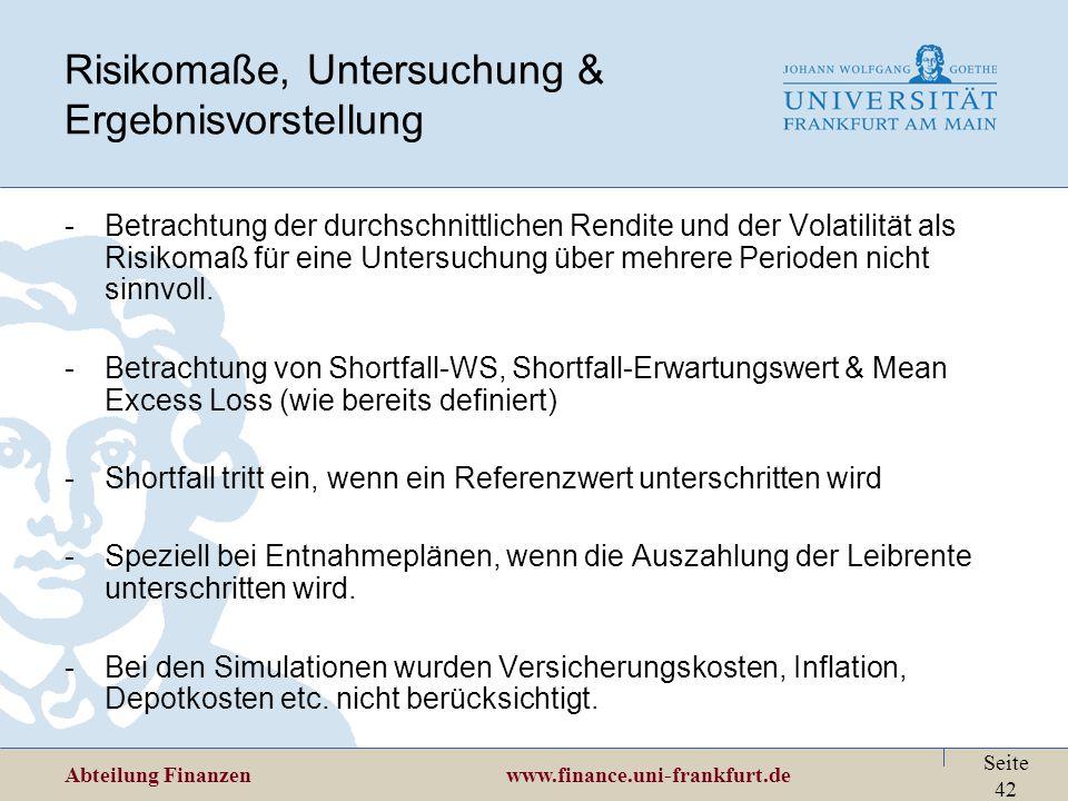 Abteilung Finanzen www.finance.uni-frankfurt.de Seite 42 -Betrachtung der durchschnittlichen Rendite und der Volatilität als Risikomaß für eine Unters