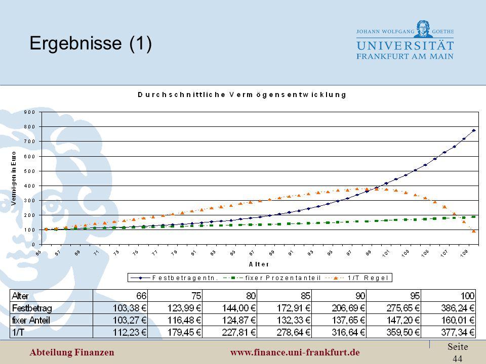 Abteilung Finanzen www.finance.uni-frankfurt.de Seite 44 Ergebnisse (1)