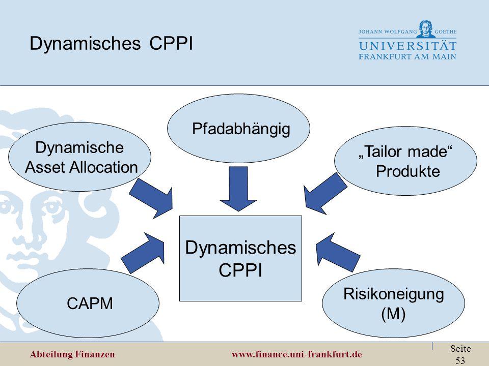 "Abteilung Finanzen www.finance.uni-frankfurt.de Seite 53 Dynamisches CPPI Dynamisches CPPI Dynamische Asset Allocation ""Tailor made"" Produkte CAPM Ris"