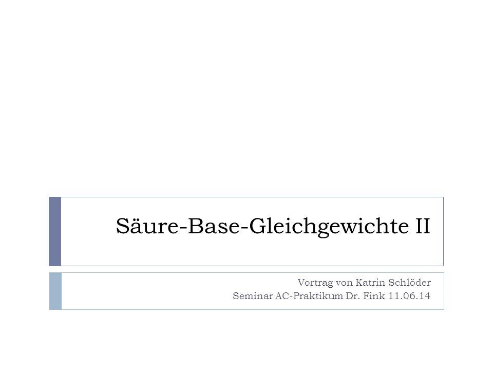 Gliederung  Autoprotolyse  Säure-Base-Titration  Puffersysteme  Salzlösungen  pH-Wert-Berechnung von Salzlösungen Säure-Base-Gleichgewichte IIKatrin Schlöder2