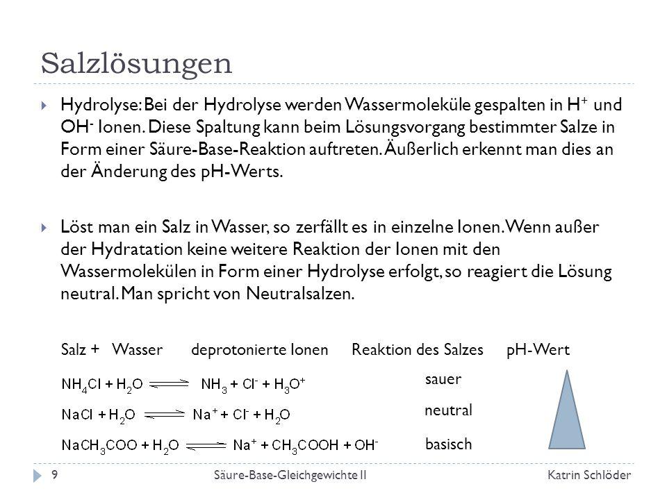 pH-Wert-Berechnung von Salzlösungen  Beispiel: Ammoniumchlorid Aus folgt (da nur ein sehr kleiner Teil des Ammoniums mit Wasser reagiert) Für eine Ammoniumchloridlösung der Konzentration c = 0,1 mol/L erhält man daraus pH = 5,1 Allgemein: Säure-Base-Gleichgewichte IIKatrin Schlöder10