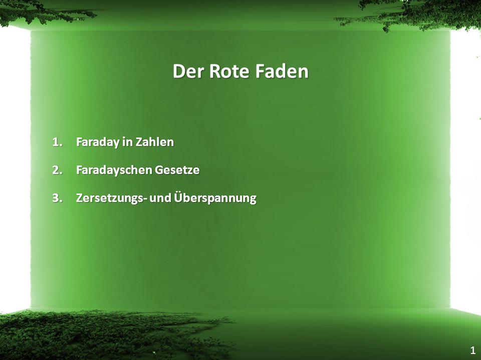 Der Rote Faden 1.Faraday in Zahlen 2.Faradayschen Gesetze 3.Zersetzungs- und Überspannung 1