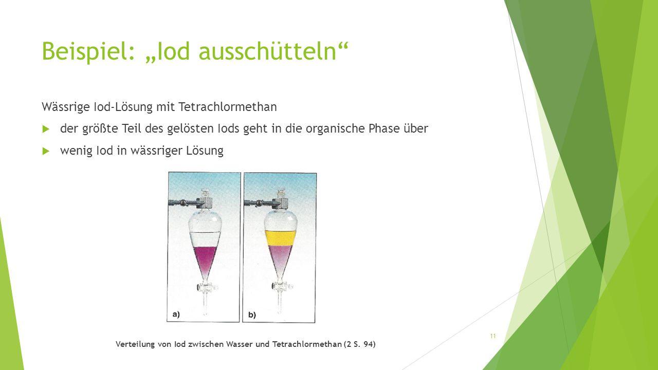 """Beispiel: """"Iod ausschütteln"""" Wässrige Iod-Lösung mit Tetrachlormethan  der größte Teil des gelösten Iods geht in die organische Phase über  wenig Io"""