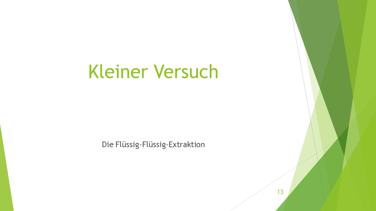 Kleiner Versuch Die Flüssig-Flüssig-Extraktion 13