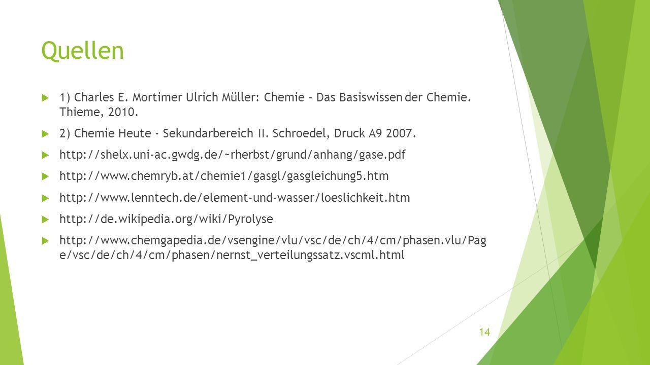 Quellen  1) Charles E. Mortimer Ulrich Müller: Chemie – Das Basiswissen der Chemie. Thieme, 2010.  2) Chemie Heute - Sekundarbereich II. Schroedel,