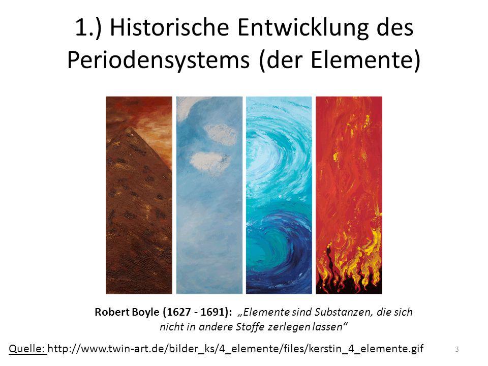 4 1.) Historische Entwicklung des Periodensystems Quelle: http://daten.didaktikchemie.uni-bayreuth.de Dalton, Berzelius  relative Atommassen Zunehmende Anzahl an Elementen, Einige Elemente zeigen ähnliche chemische Eigenschaften J.W.