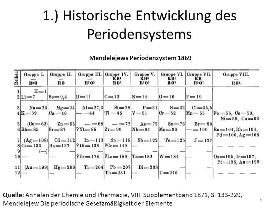 7 1.) Historische Entwicklung des Periodensystems Unstimmigkeiten in Mendelejews Periodensystem 1.) Anordnung der Elemente nach ihrer Atommasse 2.) Elemente die in einer Gruppe stehen unterscheiden sich teilweise erheblich voneinander 3.) Es wurden Elemente entdeckt für die man keinen sinnvollen Platz fand (Holmium, Samarium)
