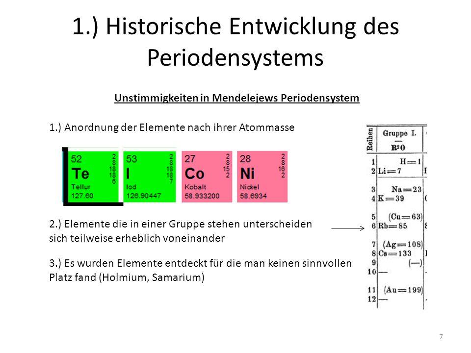 7 1.) Historische Entwicklung des Periodensystems Unstimmigkeiten in Mendelejews Periodensystem 1.) Anordnung der Elemente nach ihrer Atommasse 2.) El