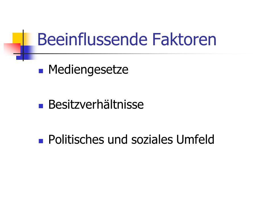 Beeinflussende Faktoren Mediengesetze Besitzverhältnisse Politisches und soziales Umfeld
