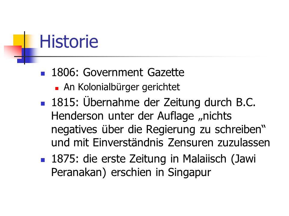 Historie 1806: Government Gazette An Kolonialbürger gerichtet 1815: Übernahme der Zeitung durch B.C.