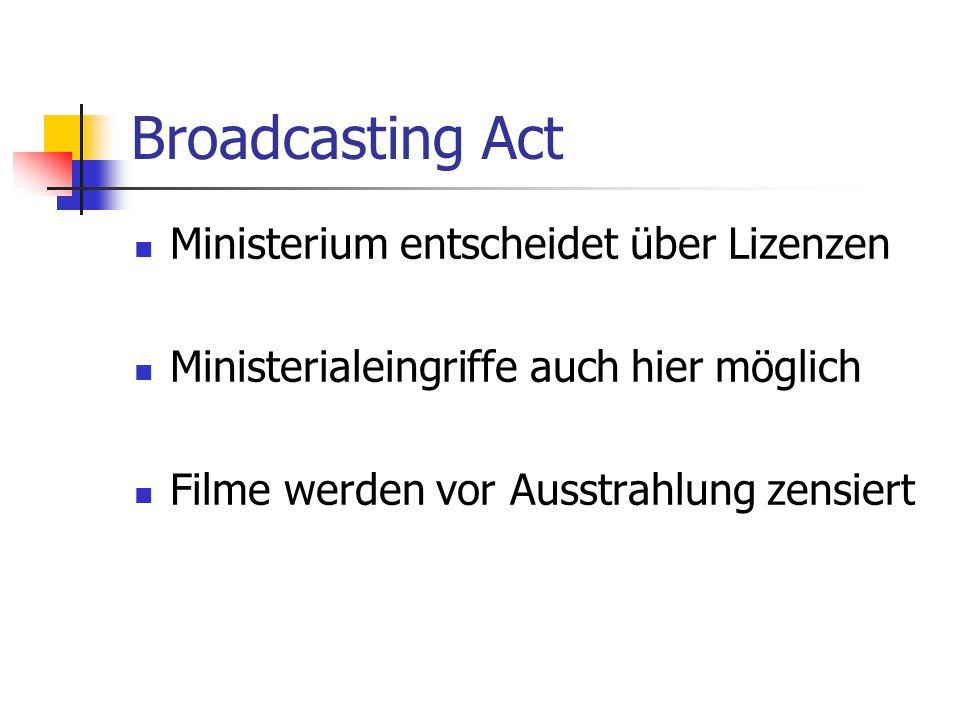 Broadcasting Act Ministerium entscheidet über Lizenzen Ministerialeingriffe auch hier möglich Filme werden vor Ausstrahlung zensiert