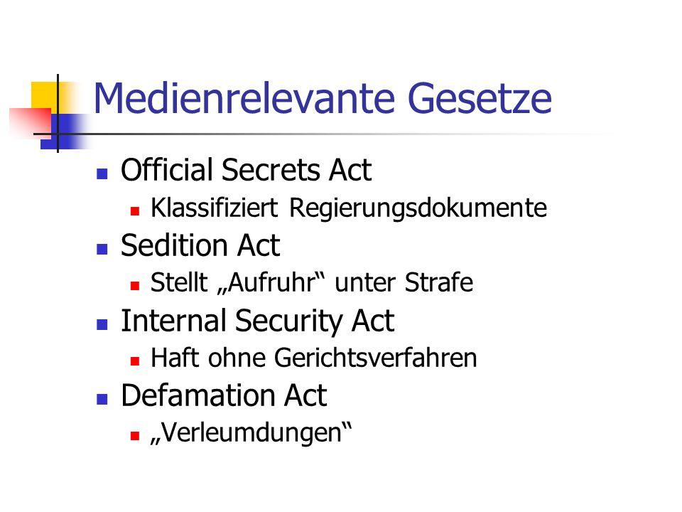 """Medienrelevante Gesetze Official Secrets Act Klassifiziert Regierungsdokumente Sedition Act Stellt """"Aufruhr unter Strafe Internal Security Act Haft ohne Gerichtsverfahren Defamation Act """"Verleumdungen"""