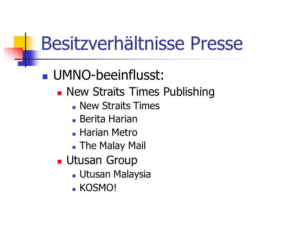 Besitzverhältnisse Presse UMNO-beeinflusst: New Straits Times Publishing New Straits Times Berita Harian Harian Metro The Malay Mail Utusan Group Utusan Malaysia KOSMO!