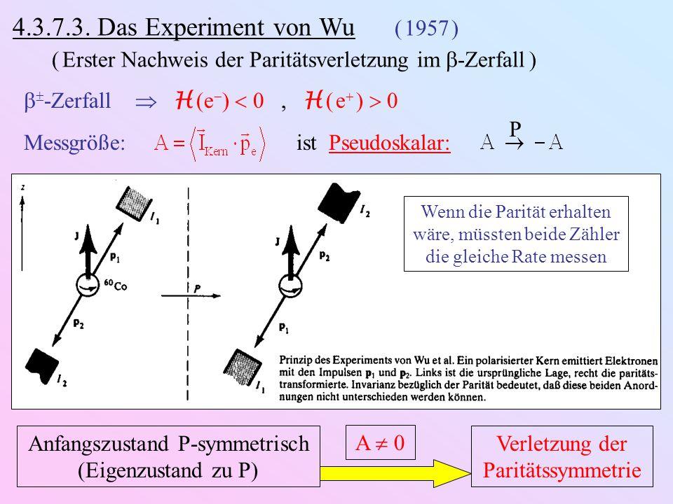  -Zerfall im Wu-Experiment: 44 22 00 55 0,01%  0,314 MeV 1,173 MeV 1,332 MeV     (1,173 MeV) mI  5mI  5 P P mI  4mI  4 m  ½m  ½ m  ½m  ½  -Nachweis: Na J-Szintillator  gute Energieauflösung  -Winkelverteilung  Grad der Probenpolarisation e-Nachweis: Anthrazen-Szintillator  Zähler e-Vorzugs-Flugrichtung  Paritätsverletzung Vorzugs- Richtung