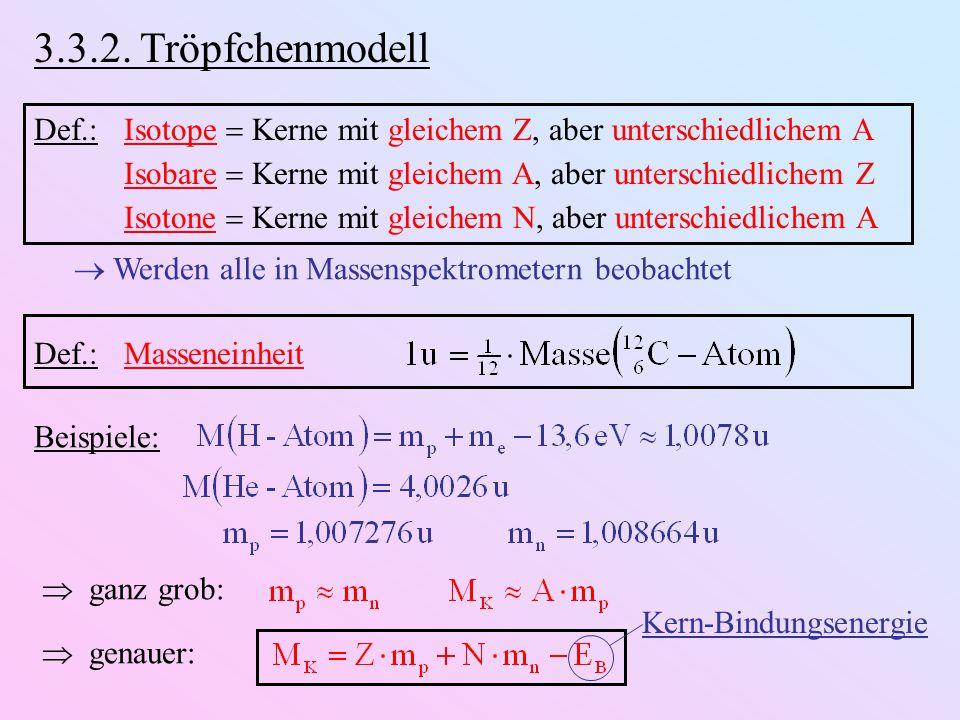 3.3.2. Tröpfchenmodell Def.:Isotope  Kerne mit gleichem Z, aber unterschiedlichem A Isobare  Kerne mit gleichem A, aber unterschiedlichem Z Isotone