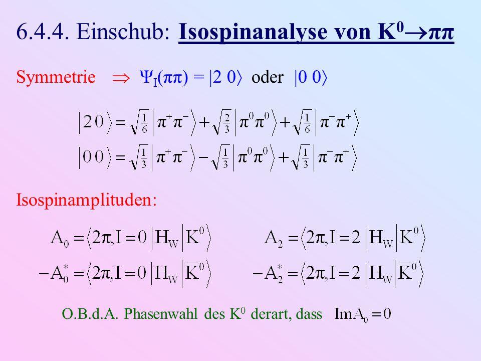 6.4.4. Einschub: Isospinanalyse von K 0  ππ Symmetrie  Ψ I (ππ) =  2 0  oder  0 0  Isospinamplituden: O.B.d.A. Phasenwahl des K 0 derart, dass
