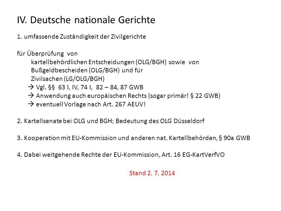 IV. Deutsche nationale Gerichte 1. umfassende Zuständigkeit der Zivilgerichte für Überprüfung von kartellbehördlichen Entscheidungen (OLG/BGH) sowie v