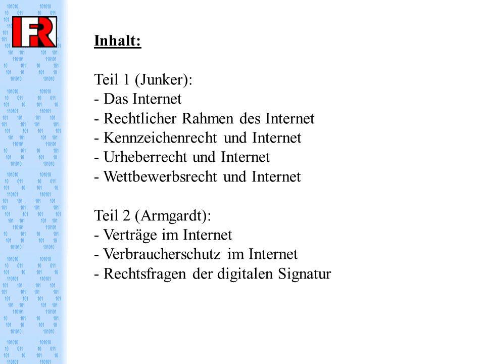 Inhalt: Teil 1 (Junker): - Das Internet - Rechtlicher Rahmen des Internet - Kennzeichenrecht und Internet - Urheberrecht und Internet - Wettbewerbsrecht und Internet Teil 2 (Armgardt): - Verträge im Internet - Verbraucherschutz im Internet - Rechtsfragen der digitalen Signatur