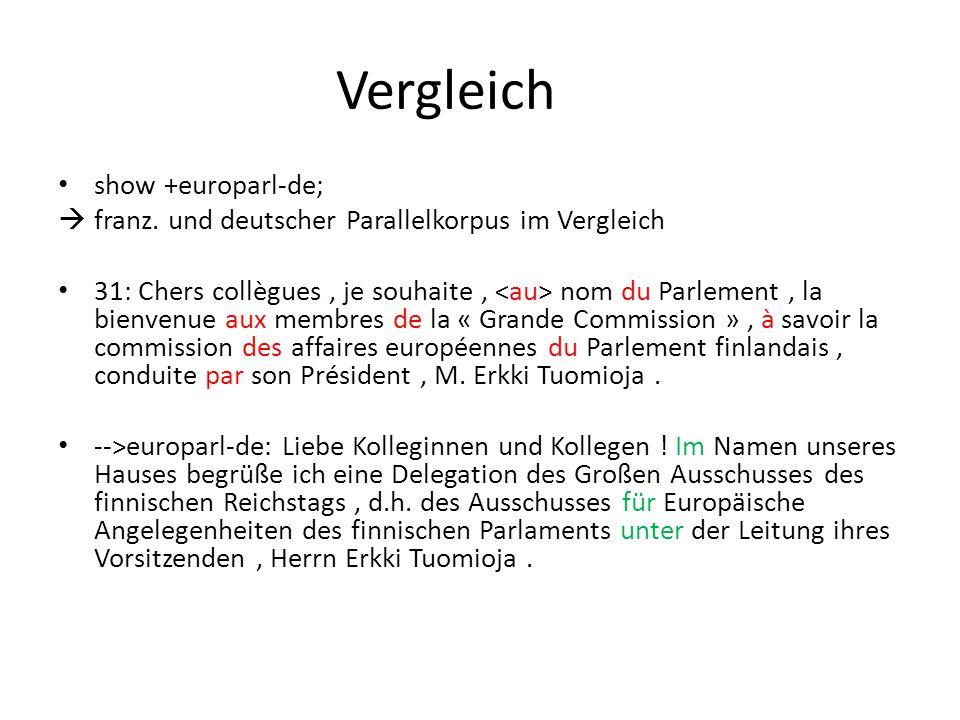 Vergleich show +europarl-de;  franz. und deutscher Parallelkorpus im Vergleich 31: Chers collègues, je souhaite, nom du Parlement, la bienvenue aux m