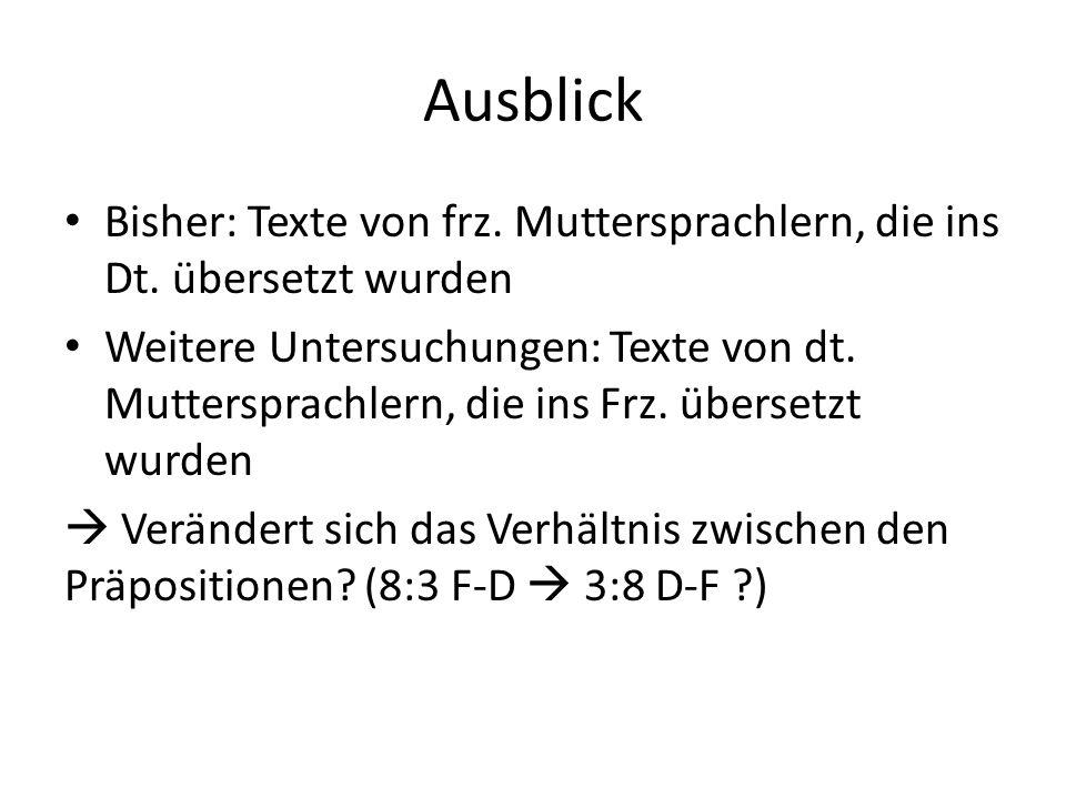 Ausblick Bisher: Texte von frz.Muttersprachlern, die ins Dt.