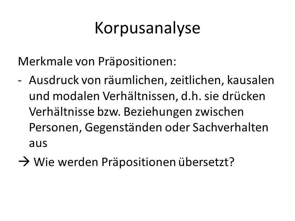 Korpusanalyse Merkmale von Präpositionen: -Ausdruck von räumlichen, zeitlichen, kausalen und modalen Verhältnissen, d.h.