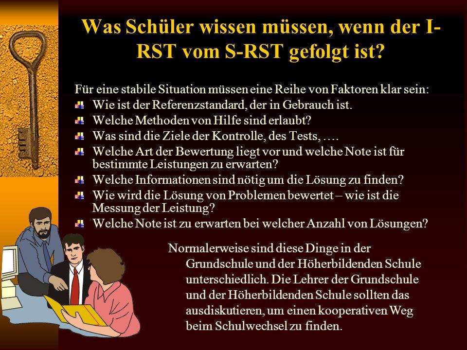 Lehrer mit S-RST (Referenzstandard) I-RST (Referenzstandard) Erklären das Fehlen von Leistungen durch Zeitstabile Faktoren: Fehlen von Talent, Fehlen