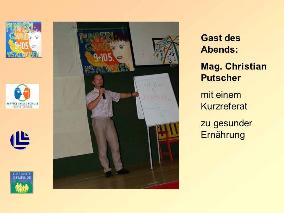 Gast des Abends: Mag. Christian Putscher mit einem Kurzreferat zu gesunder Ernährung