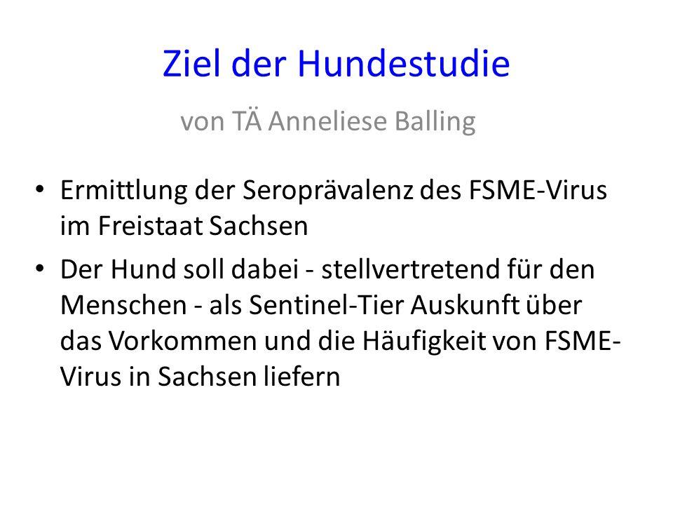 Ziel der Hundestudie Ermittlung der Seroprävalenz des FSME-Virus im Freistaat Sachsen Der Hund soll dabei - stellvertretend für den Menschen - als Sen