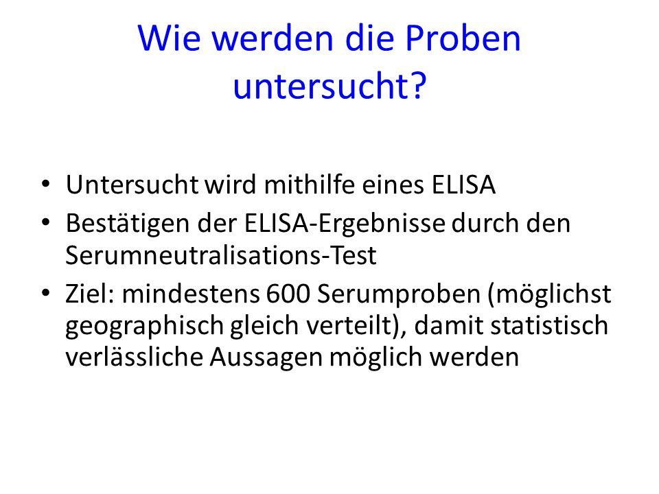 Wie werden die Proben untersucht? Untersucht wird mithilfe eines ELISA Bestätigen der ELISA-Ergebnisse durch den Serumneutralisations-Test Ziel: minde