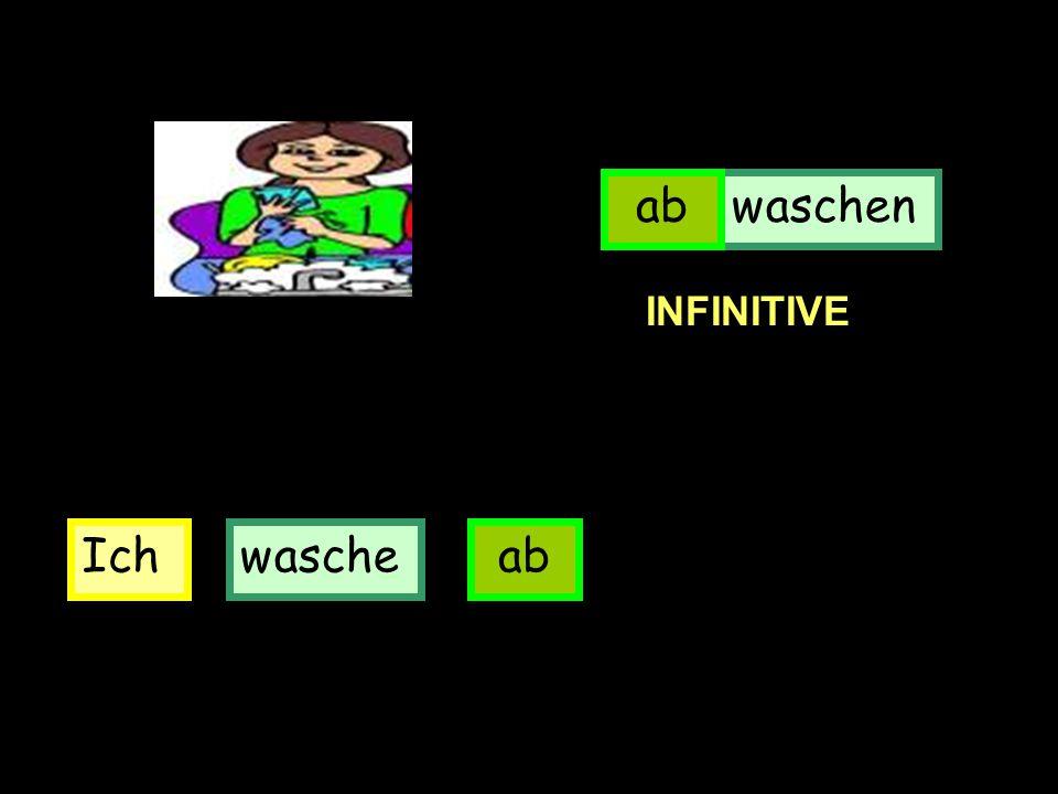 Ichwascheab waschenab INFINITIVE