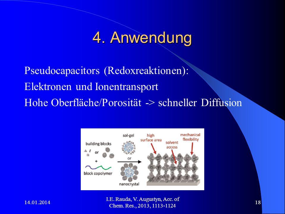 14.01.2014 I.E. Rauda, V. Augustyn, Acc. of Chem. Res., 2013, 1113-1124 18 4. Anwendung Pseudocapacitors (Redoxreaktionen): Elektronen und Ionentransp
