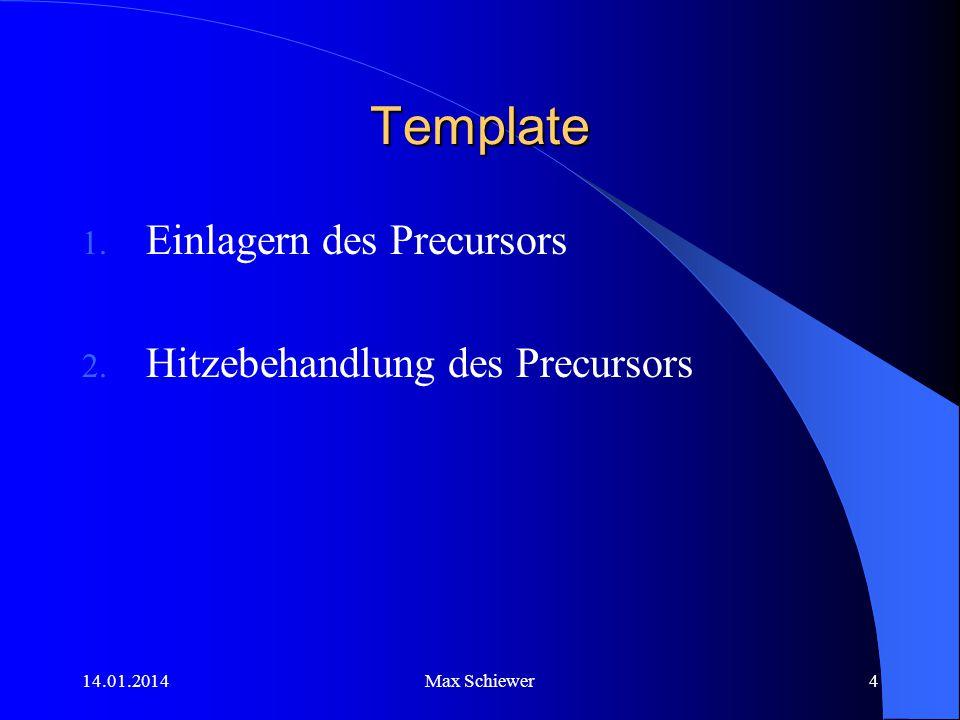 14.01.2014Max Schiewer4 Template 1. Einlagern des Precursors 2. Hitzebehandlung des Precursors