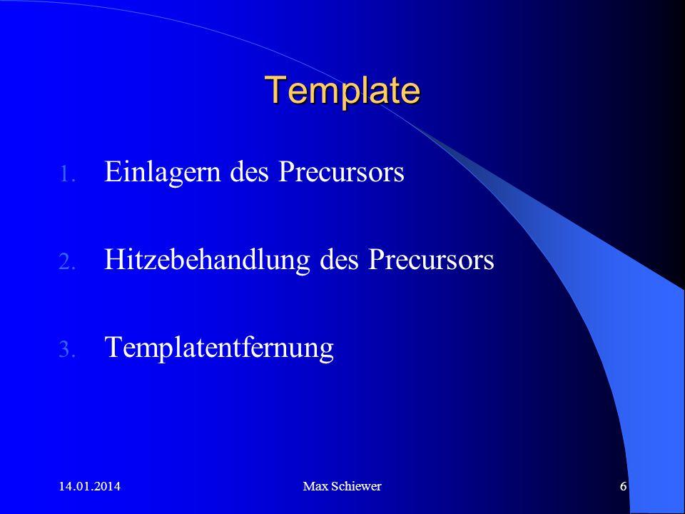 14.01.2014Max Schiewer6 Template 1. Einlagern des Precursors 2. Hitzebehandlung des Precursors 3. Templatentfernung
