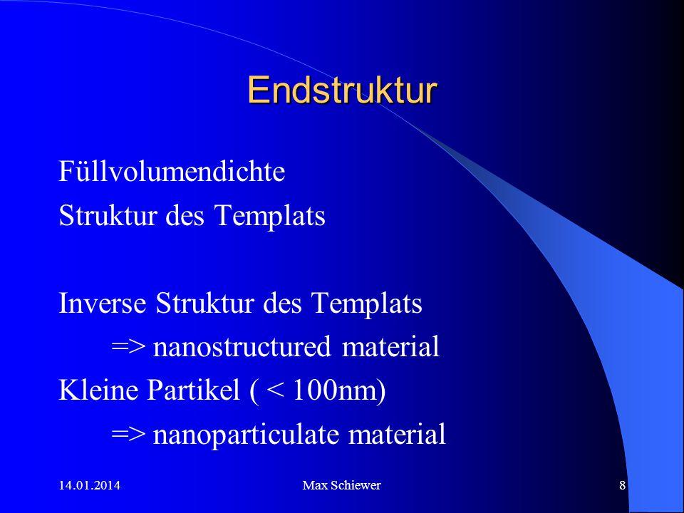 14.01.2014Max Schiewer8 Endstruktur Füllvolumendichte Struktur des Templats Inverse Struktur des Templats => nanostructured material Kleine Partikel (