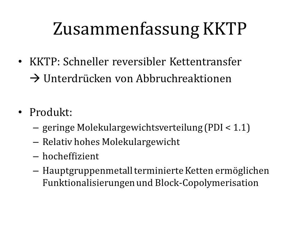 Zusammenfassung KKTP KKTP: Schneller reversibler Kettentransfer  Unterdrücken von Abbruchreaktionen Produkt: – geringe Molekulargewichtsverteilung (P