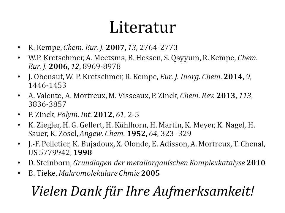 Literatur R. Kempe, Chem. Eur. J. 2007, 13, 2764-2773 W.P. Kretschmer, A. Meetsma, B. Hessen, S. Qayyum, R. Kempe, Chem. Eur. J. 2006, 12, 8969-8978 J