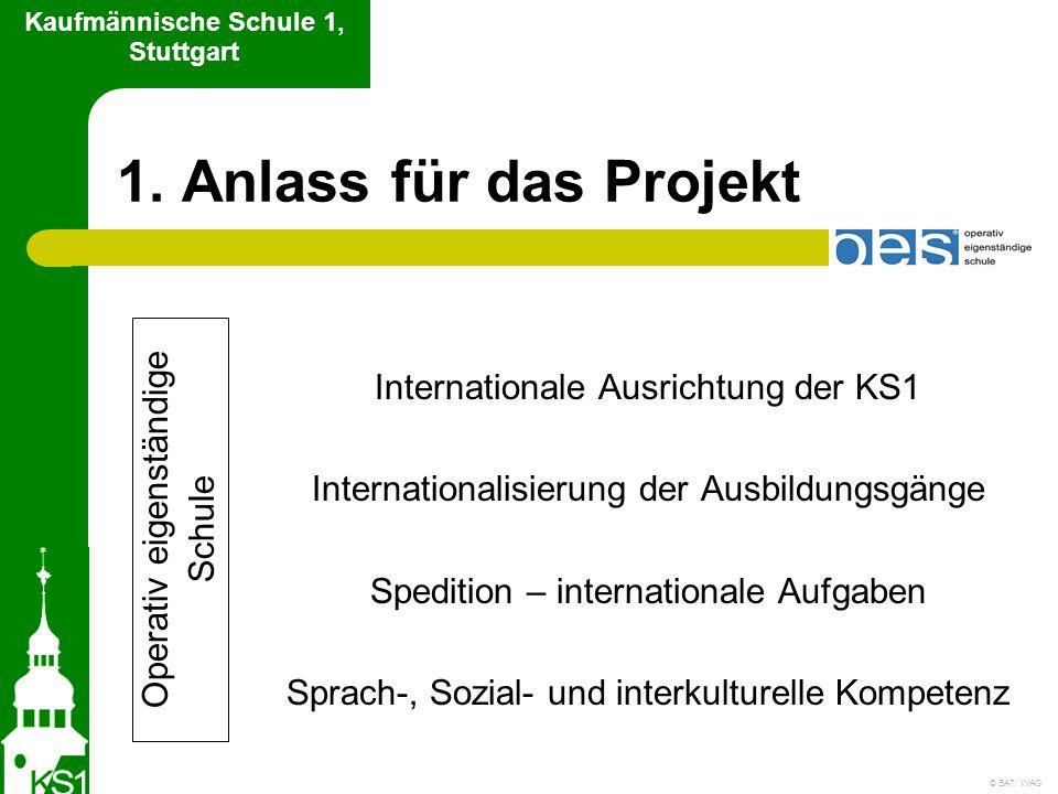 1. Anlass für das Projekt Internationale Ausrichtung der KS1 Internationalisierung der Ausbildungsgänge Spedition – internationale Aufgaben Sprach-, S
