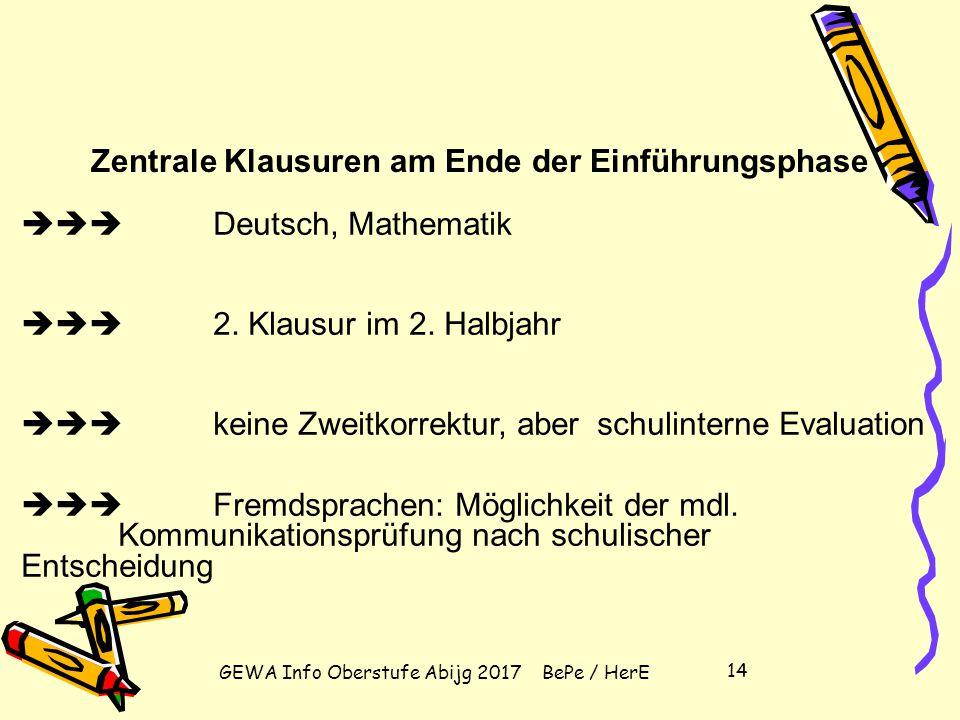 GEWA Info Oberstufe Abijg 2017 BePe / HerE 13 Klausurverpflichtungen Einführungsphase: Deutsch, Mathematik, alle Fremdsprachen, eine Gesellschaftswiss